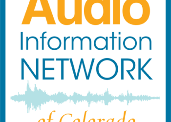 Audio Information Network of Colorado logo with soundwave