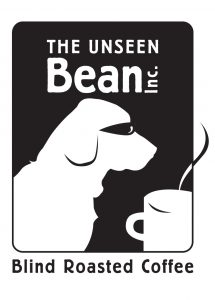 Unseen Bean logo: a dog silhouette smelling a steaming cup of coffee.