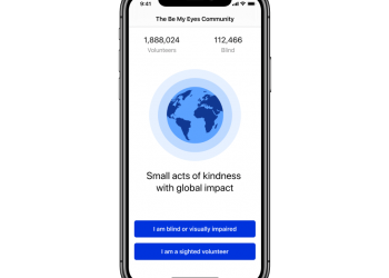 "be my eyes app on an iphone. Screen says, ""1888024 volunteers, 112,466 blind, small acts of kindness with a global impact."" picture of globe, and 2 buttons on bottom. One button says ""I am blind or visually impaired"" other says ""I am a sighted volunteer"""