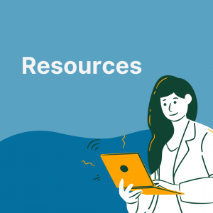 """text says """"resources"""". Image contains a graphic of a woman smiling while typing on a laptop."""