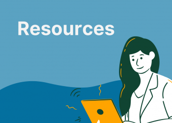 "text says ""resources"". Image contains a graphic of a woman smiling while typing on a laptop."