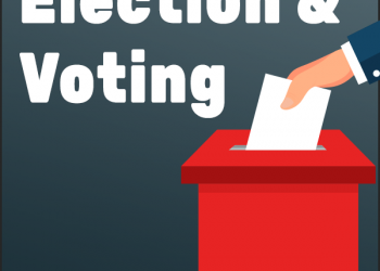 Elections and Voting. Image has a voting box with a hand placing a white piece of paper into the slot on top.