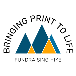 Bringing Print to Life Fundraising Hike Logo with graphical mountains