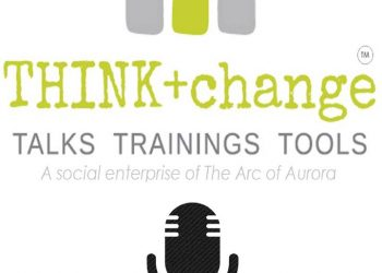 Think+change taks and training tools. a social enterprise of the Arc of Aurora. Icon of microphone.